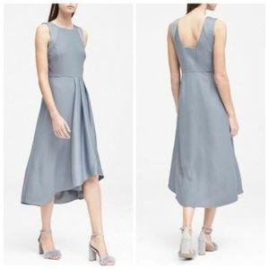 Banana Republic Silver Gray Satin Trim Midi Dress
